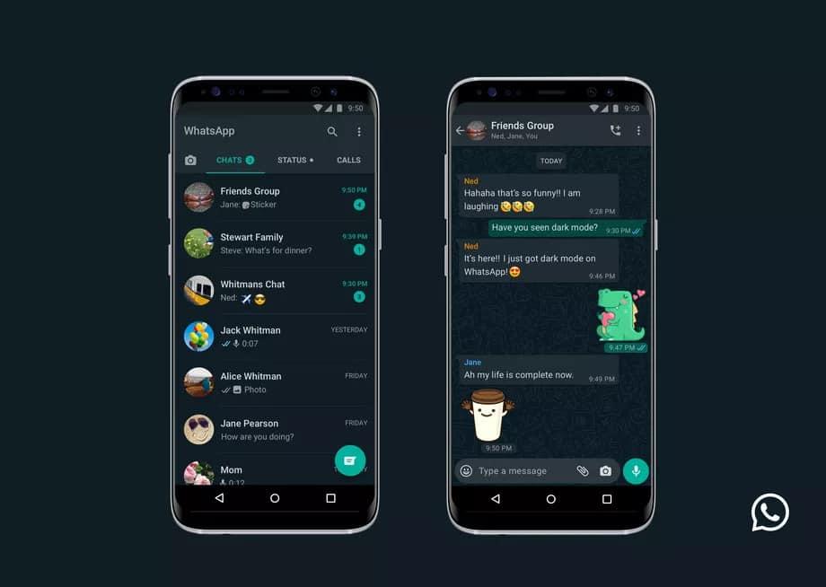 Modo escuro do WhatsApp no Android.