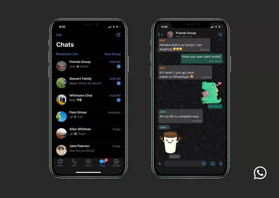 Modo escuro do WhatsApp no iOS.
